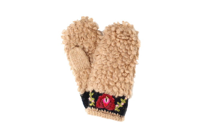 Eskimo Mittens - winter hat glove - hand-knit - French Knot