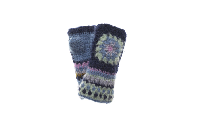 Crochet Hand Warmer - winter hat glove - hand-knit - French Knot