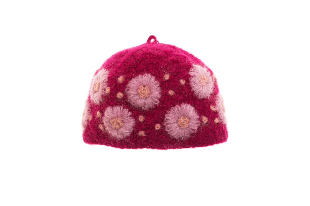 Daisy Hat - winter hat glove - hand-knit - French Knot