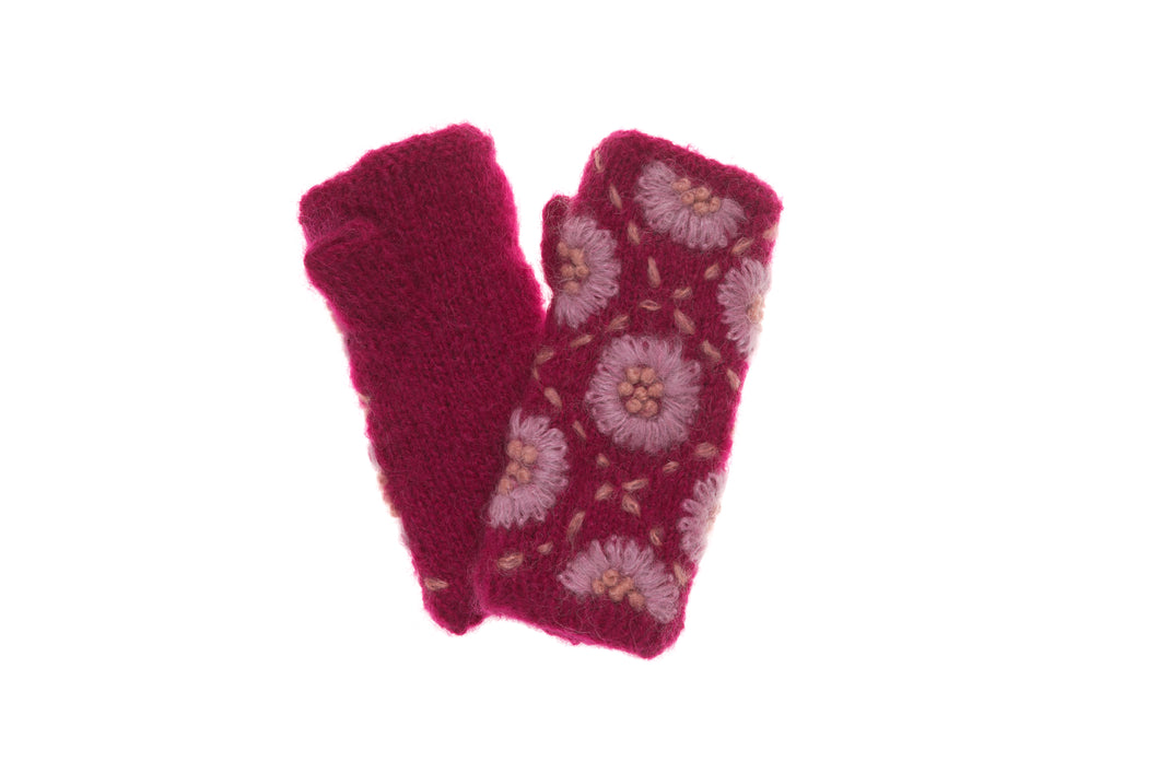 Daisy Hand Warmers - winter hat glove - hand-knit - French Knot
