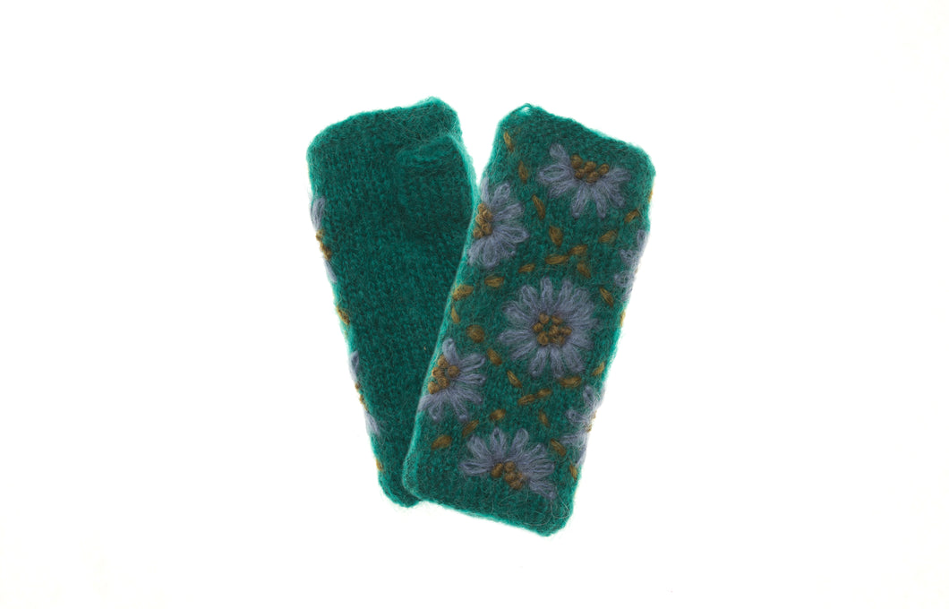 Daisy Hand Warmer - winter hat glove - hand-knit - French Knot