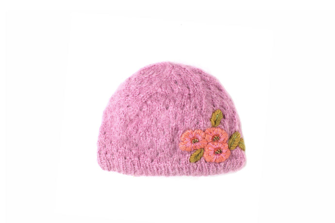 Snow Flower - winter hat glove - hand-knit - French Knot