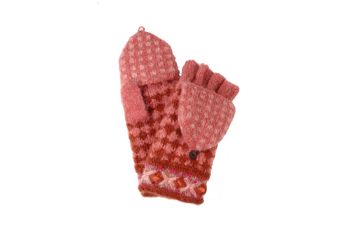 Rita Convertible Mitten - winter hat glove - hand-knit - French Knot
