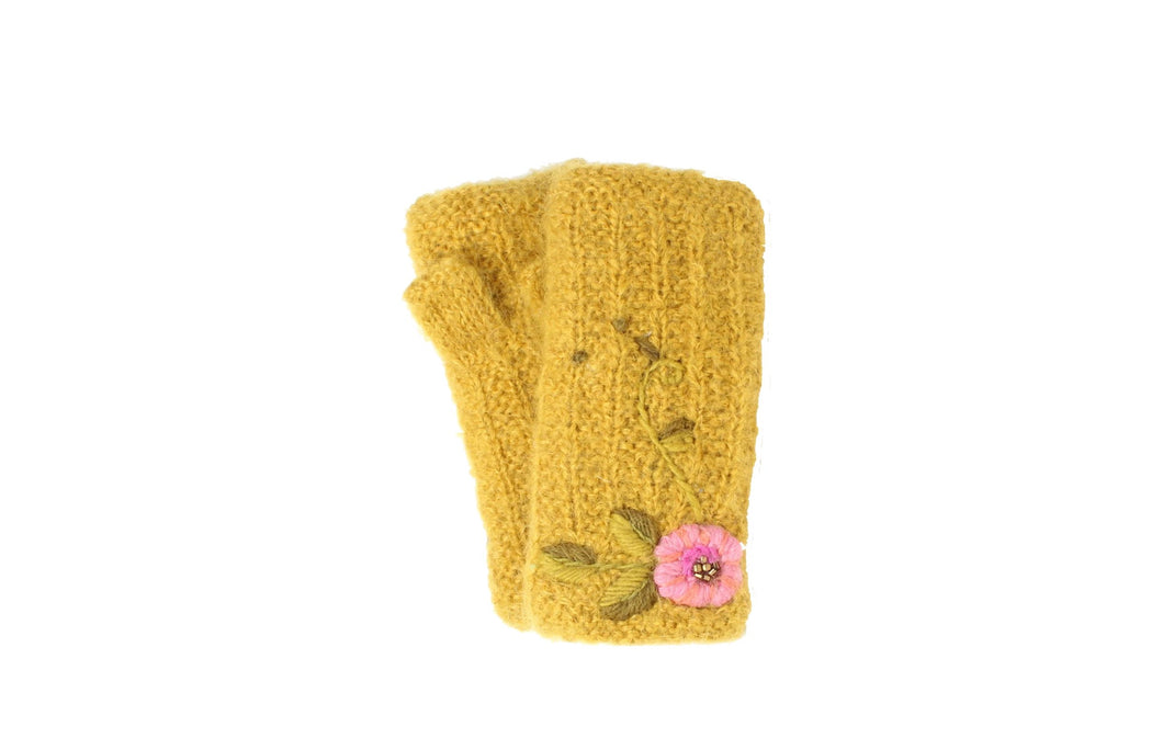 Snowflower Handwarmer - winter hat glove - hand-knit - French Knot