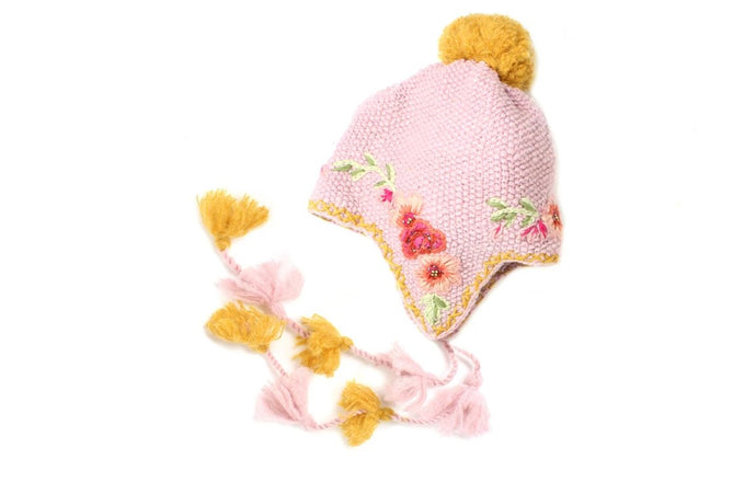 Marigold Earflap - winter hat glove - hand-knit - French Knot