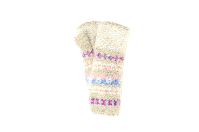 Iris Hand Warmer - winter hat glove - hand-knit - French Knot