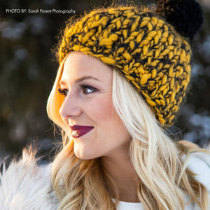 Collegiate Chunky Hat - winter hat glove - hand-knit - French Knot