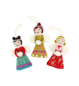 French Knot Angel Ornaments (Set of 3) - winter hat glove - hand-knit - French Knot