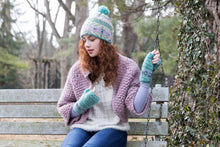Cozy Ethnic Hat - winter hat glove - hand-knit - French Knot