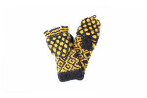 Collegiate Dot Convertible Mittens - winter hat glove - hand-knit - French Knot
