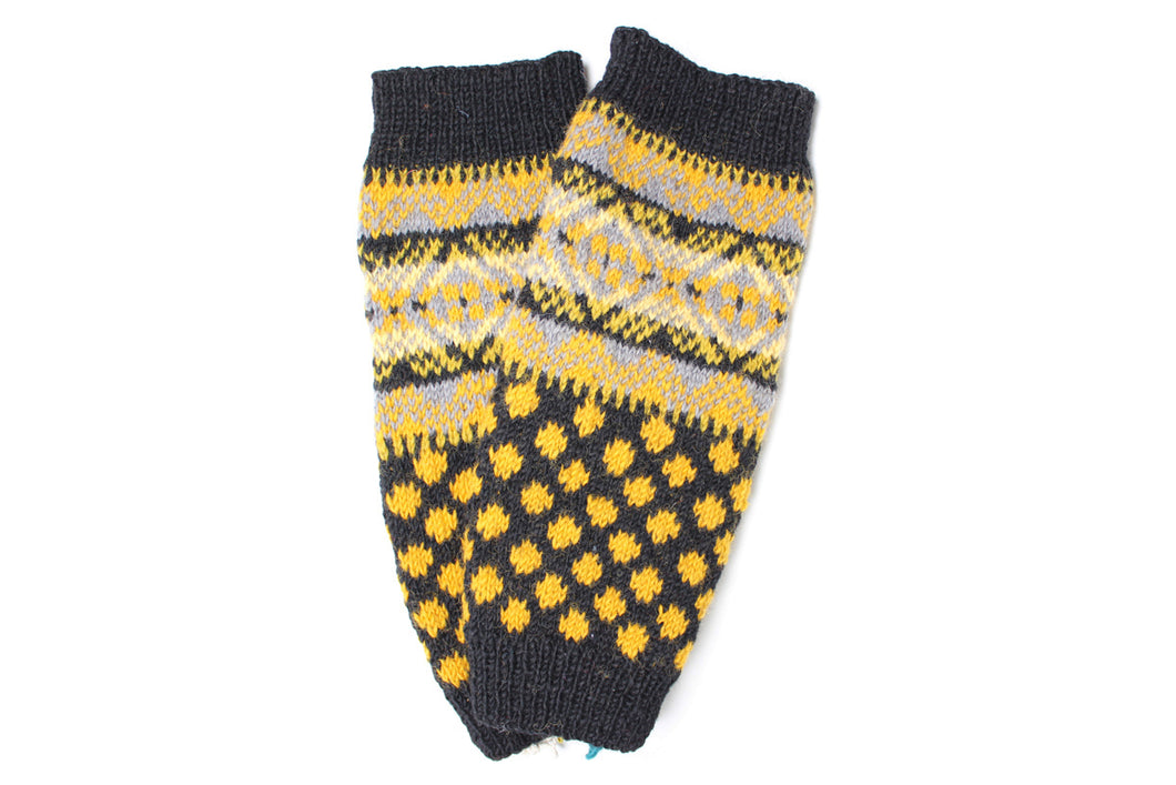 Collegiate Retro Leg Warmers - winter hat glove - hand-knit - French Knot