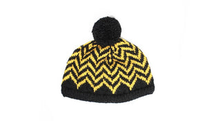 Collegiate Chevron Hat - winter hat glove - hand-knit - French Knot