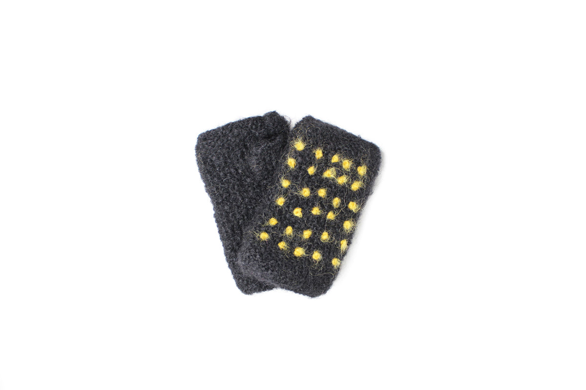 Collegiate French Knot Hand Warmers - winter hat glove - hand-knit - French Knot