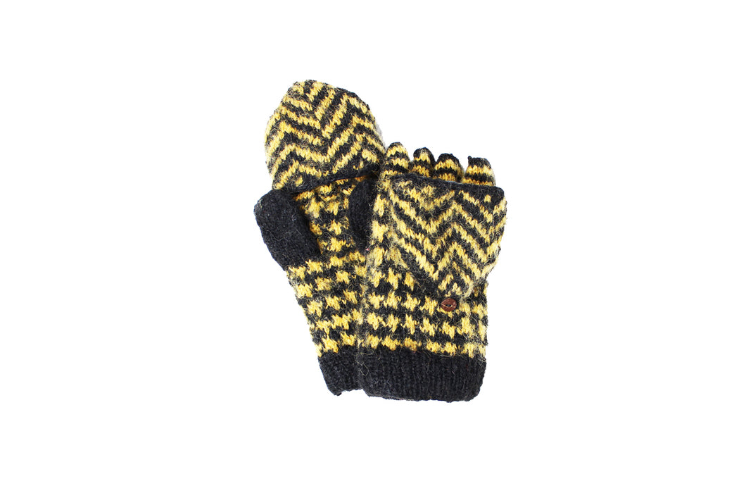 Collegiate Chevron Convertible Mittens - winter hat glove - hand-knit - French Knot