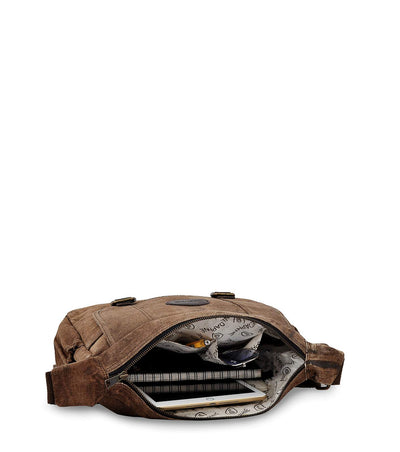 travel crossbody bag genuine leather crossbody printed waxed canvas