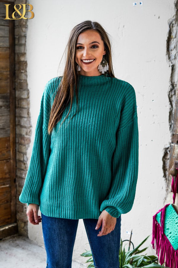 RANCHERS WIFE SWEATER -TEAL