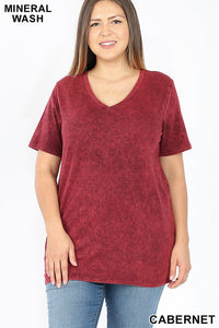 CABERNET MINERAL WASH TEE -PLUS