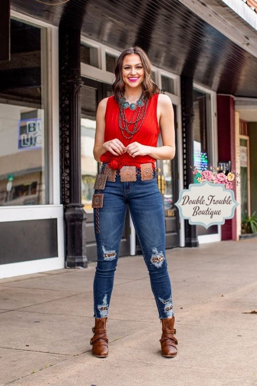 L&B Leopard Patched Skinnies