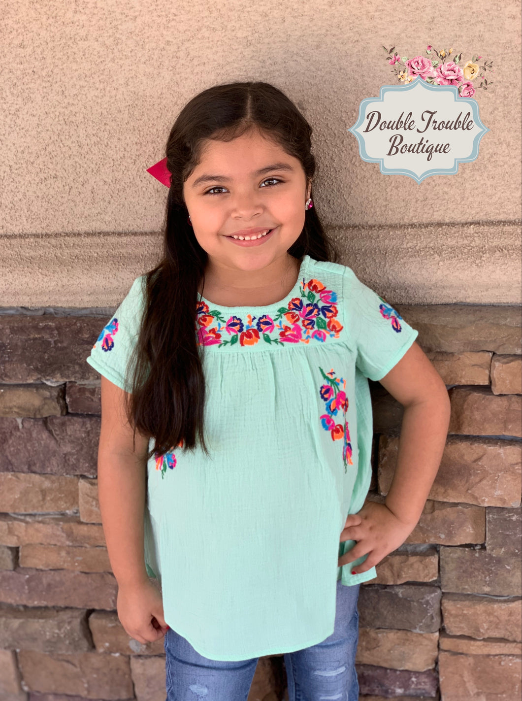 Kids Puebla Embroidered Top- Teal