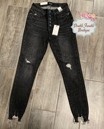 JB Black Wash Distressed Denim