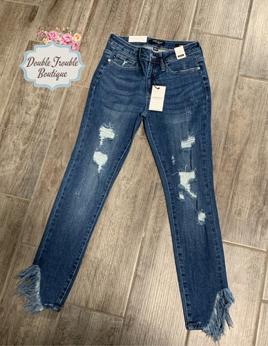 JB Medium Wash Distressed Fringe Denim