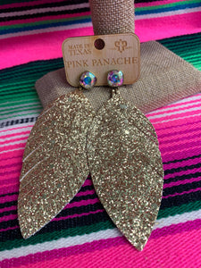 Pink Panache Gold Feather Earrings