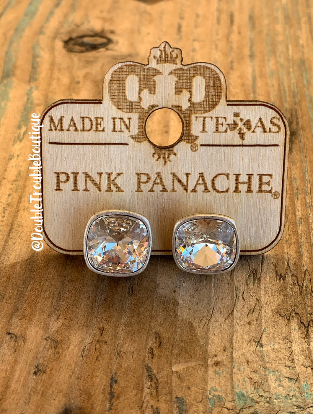 Pink Panache Small Post Studs- Clear Silver
