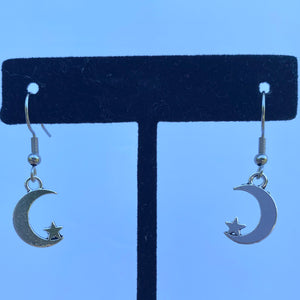 """Moon + Star"" Drop Earrings"