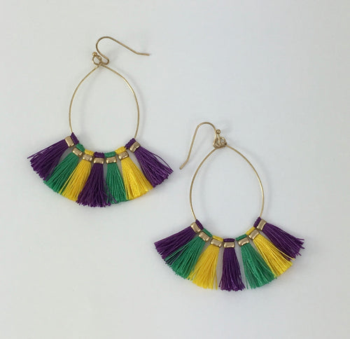 Liza Mardi Gras Hoop Earrings