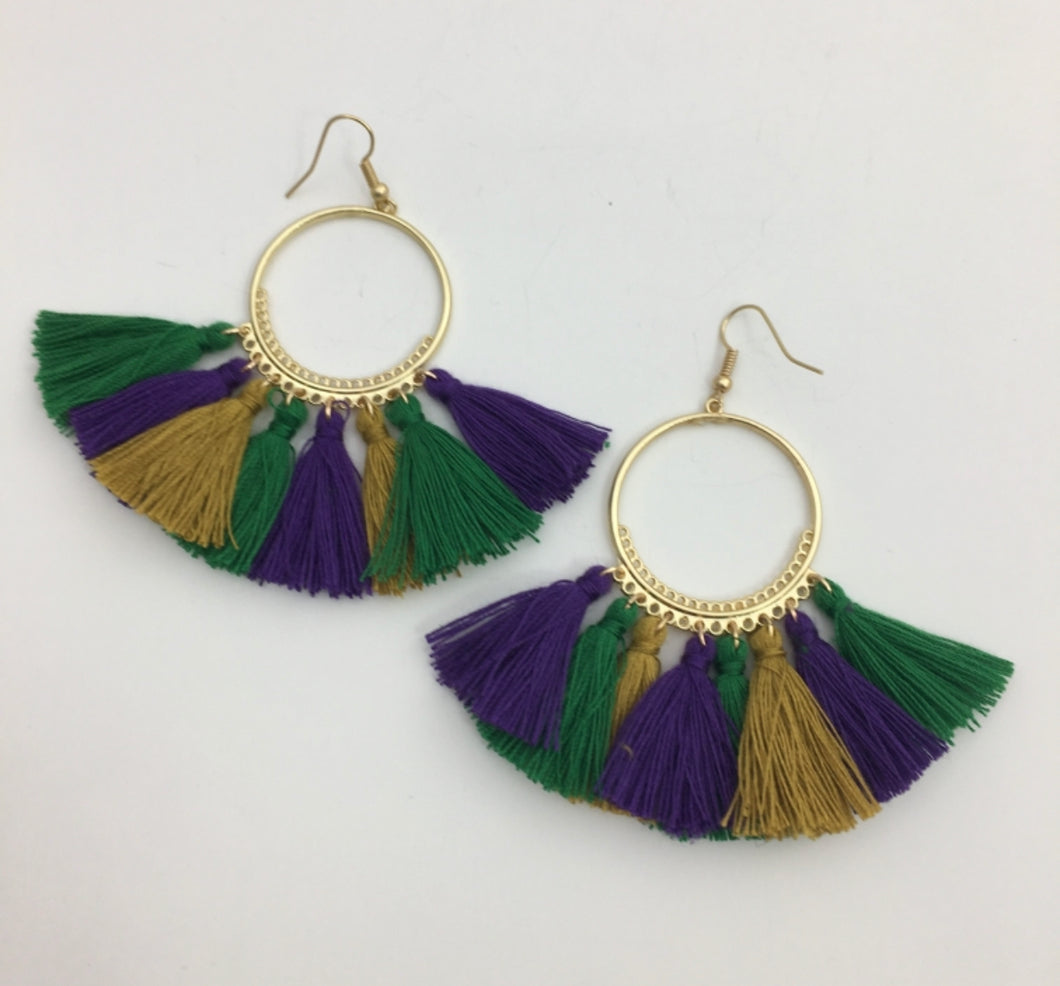 Rebecca Hoop Mardi Gras Earrings