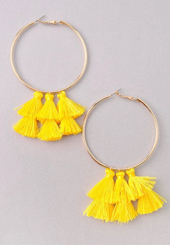Daisy Yellow Hoop/Fringe Earrings