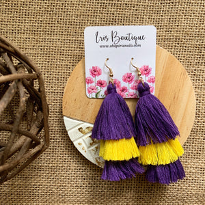 LSU Fringe Earrings