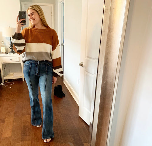 Rust Color Block Sweater