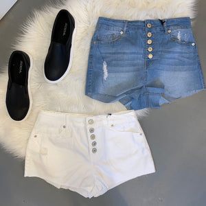Logan Denim Shorts [White]