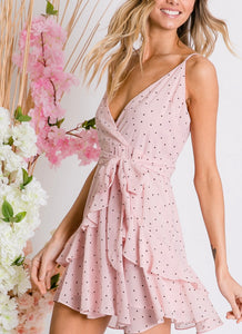 Pink Lily Polka Dot Dress