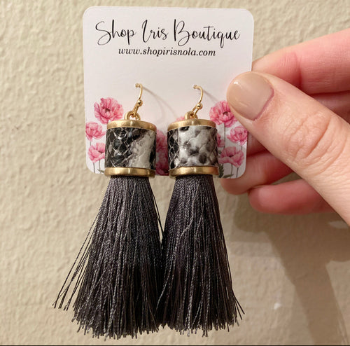 Snake Print Fringe Earrings