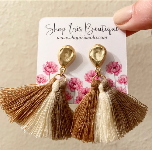 Multi-neutral Fringe Earrings