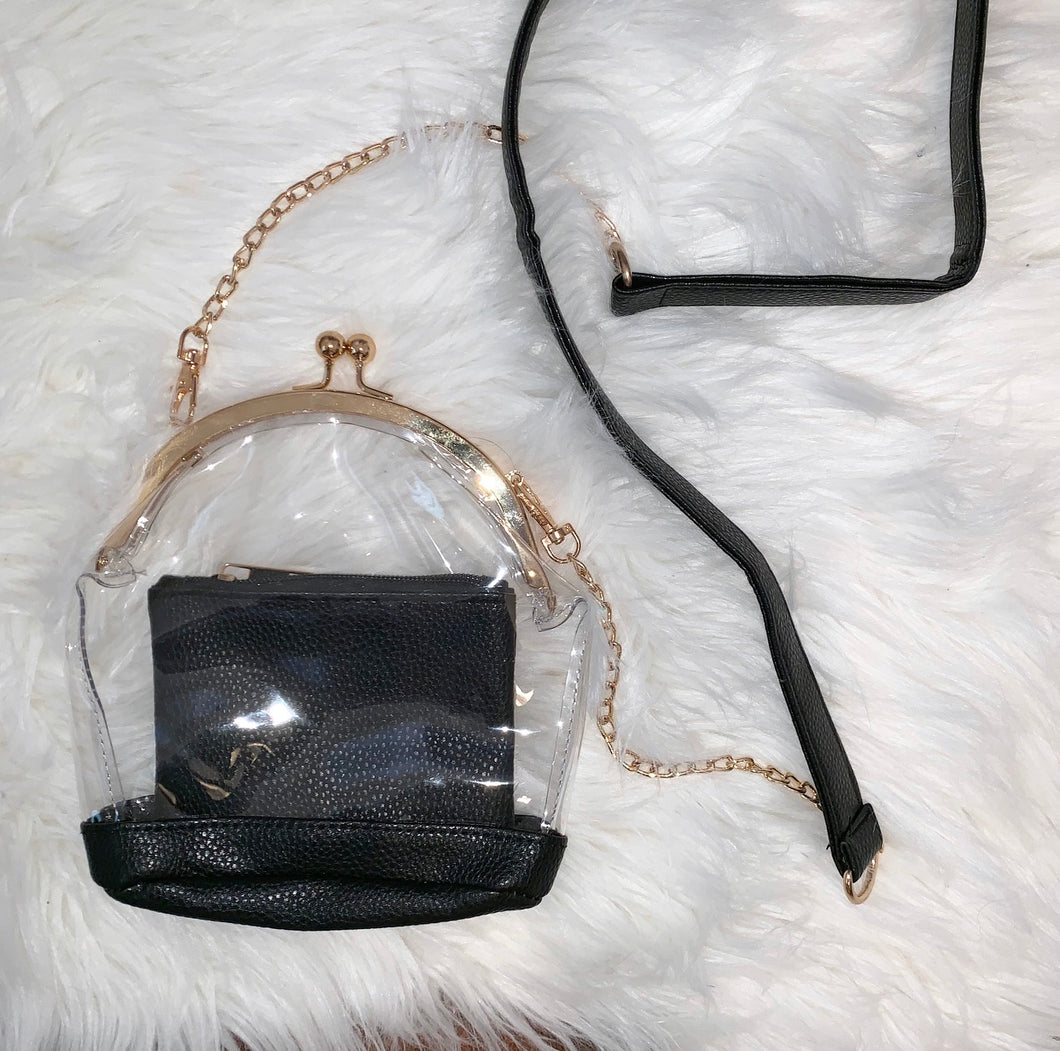 Clear Game Day Purse (black)
