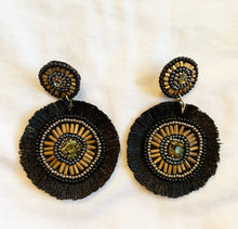 Load image into Gallery viewer, Beaded Black and Gold Earrings