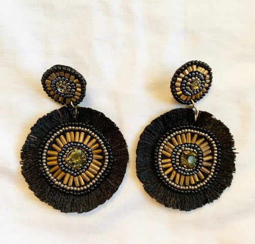 Beaded Black and Gold Earrings