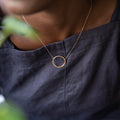 Circular Hammer Finished Necklace in Yellow Gold