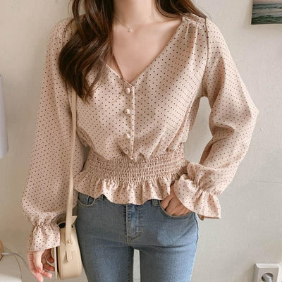 Vintage V-neck Blouse