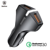 Baseus Quick Charge 3.0 Car Charger 5V3A Dual USB Port - Astarastore