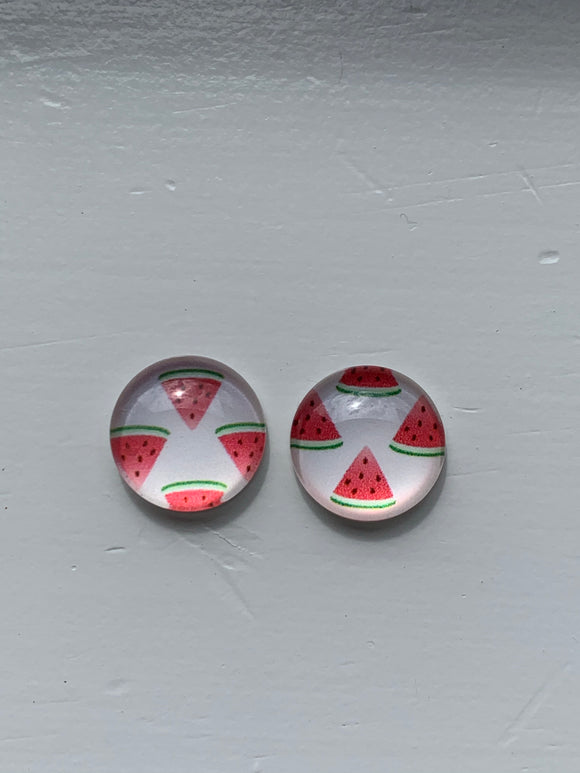 WATERMELON Glass Dome Stud Earrings