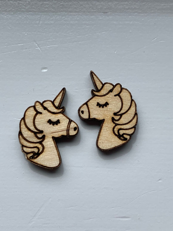 WOODEN UNICORNS Stud Earrings