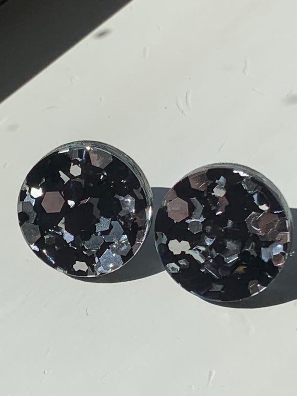 LARGE BLACK AND SILVER CHUNKY GLITTER Circle Stud Earrings