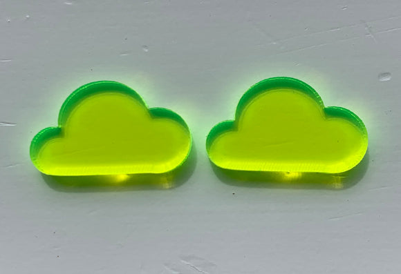 LARGE YELLOW FLUORO TRANSLUCENT CLOUD Stud Earrings