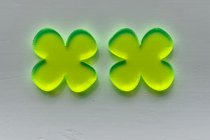 LARGE YELLOW FLUORO TRANSLUCENT FLOWER (4) Stud Earrings