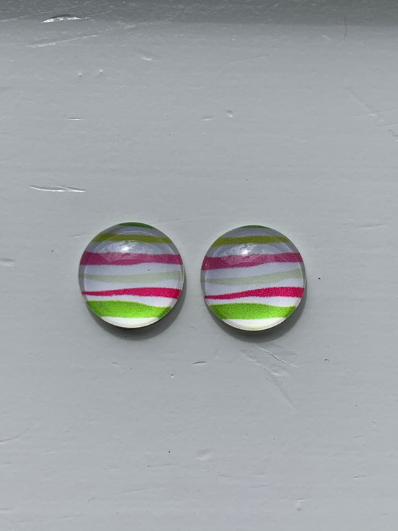 STRIPED Glass Dome Stud Earrings