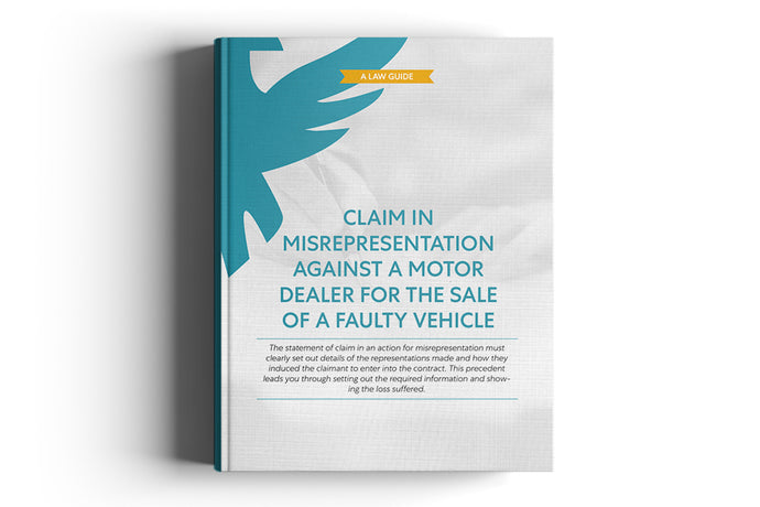 Claim in misrepresentation against a Motor Dealer for the sale of a faulty Vehicle